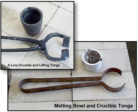 Two crucibles and two foundry tongs