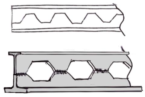 Dual section structural beam with hex holes
