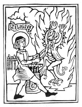 Old Woodcut, St. Eligius snaring the Devil by his nose with his tongs.
