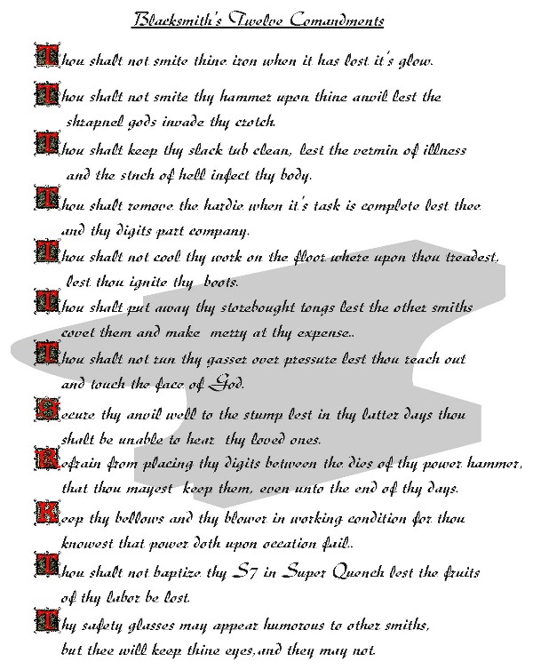 Blacksmiths Twelve Commandments
