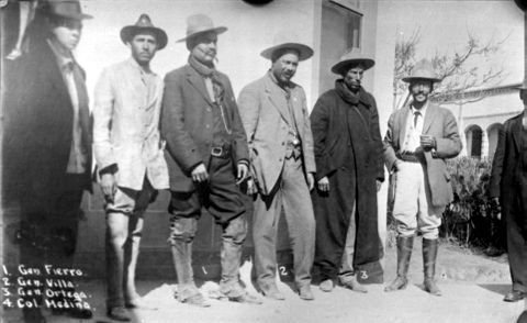 Pancho Villa with his generals, Fierro, Ortega and Col. Medina. [image number 00198]