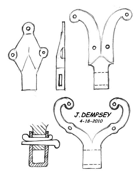 Drawing of three types of English post vise brackets by Jock Dempsey