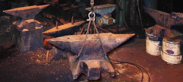 Five Blacksmiths anvils totaling over 2400 pounds to be moved. Greenwood Ironworks