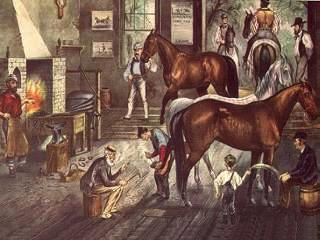 Trotting Cracks - The Forge - Early American Farrier Shop with horses, blacksmith at the forge heating a horseshoe - customer and young boy watching the farrier.